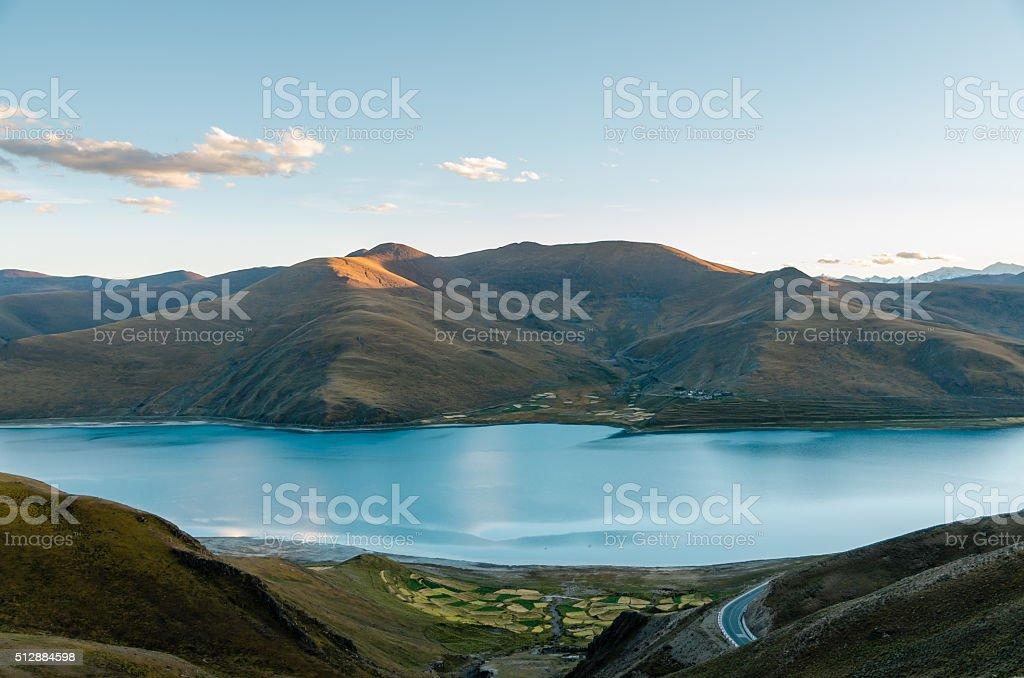 Yamdrok Yamtso Lake In Tibet stock photo