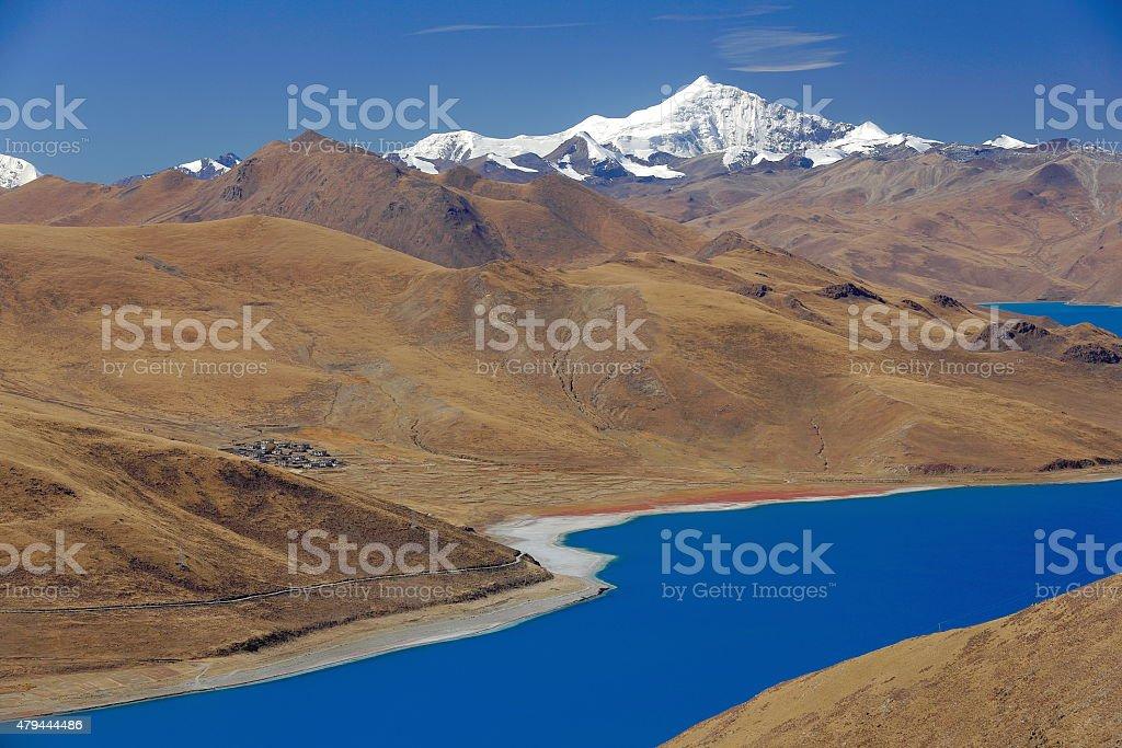 YamdrokTso-Lake from Kamba La-pass. Tibet. 1540 stock photo