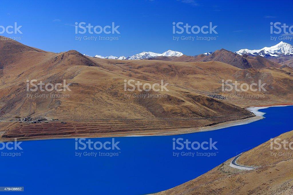YamdrokTso-Lake from Kamba La-pass. Tibet. 1541 stock photo