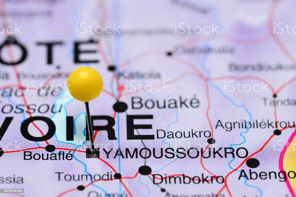 Yamoussoukro pinned on a map of Africa stock photo