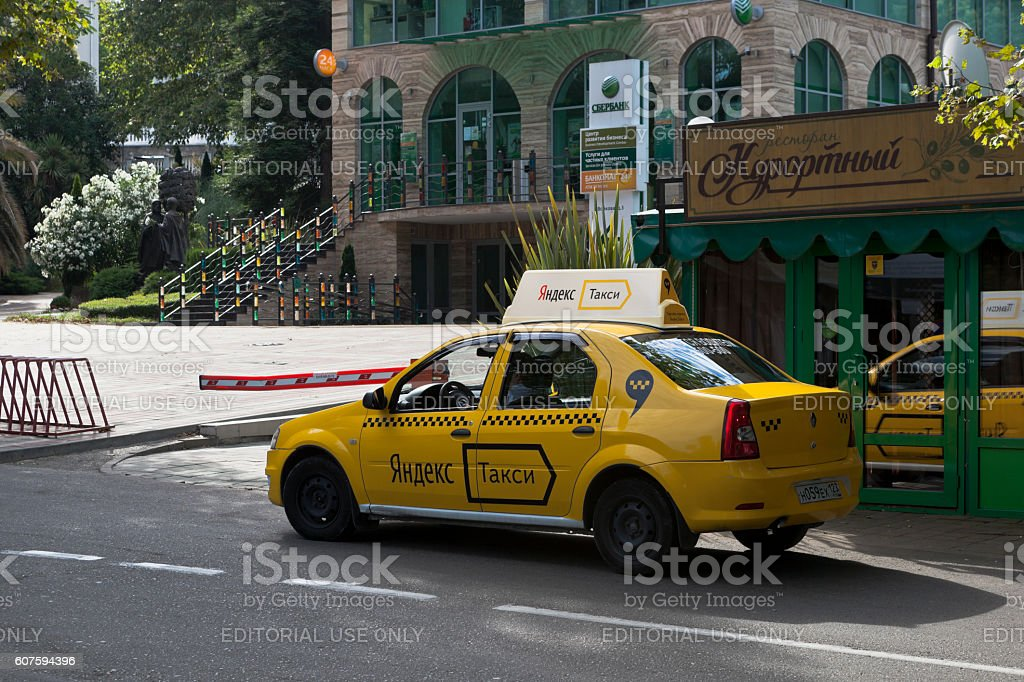 Yandex Taxi On The Street Voykova In City Of Sochi Stock Photo