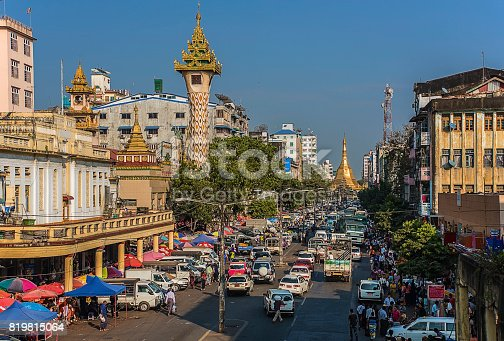 Main street leading to the Sule pagoda in Yangon city, a normal day in Myanmar capital