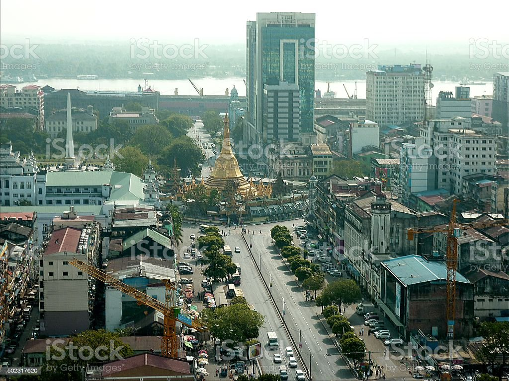 Yangon Cityscape, Myanmar stock photo