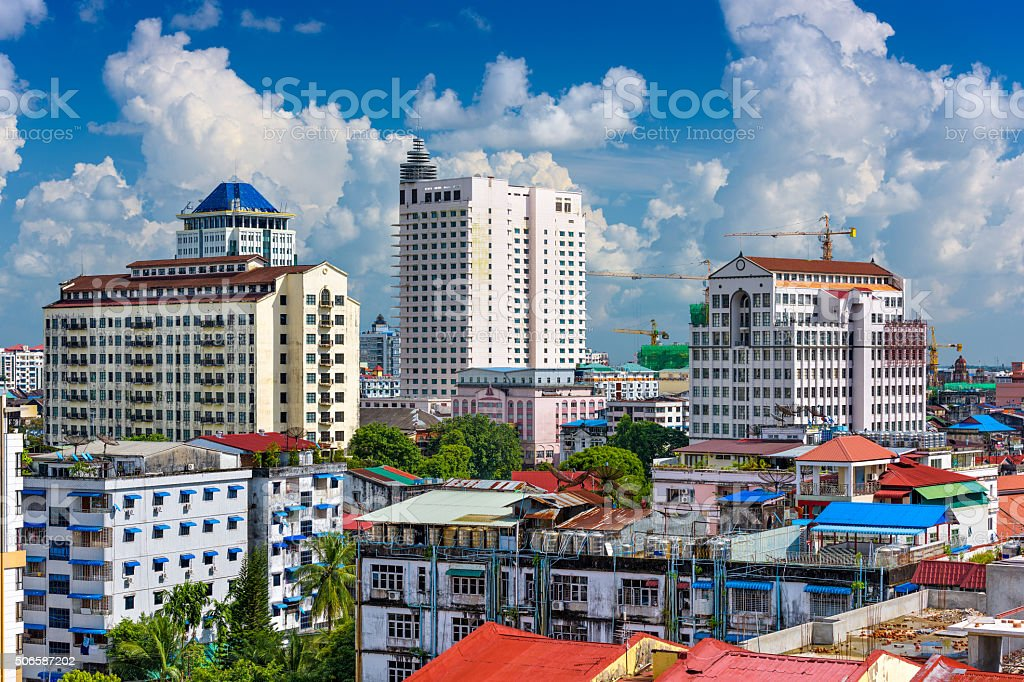 Yangon Downtown stock photo