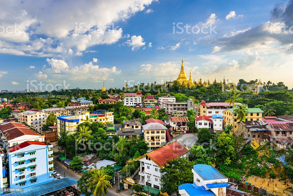 Yangon, Myanmar City Skyline stock photo