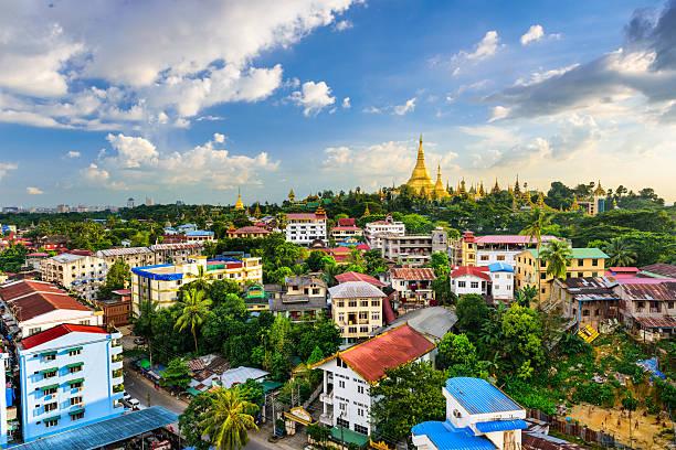 Yangon, Myanmar City Skyline Yangon, Myanmar city skyline. myanmar stock pictures, royalty-free photos & images