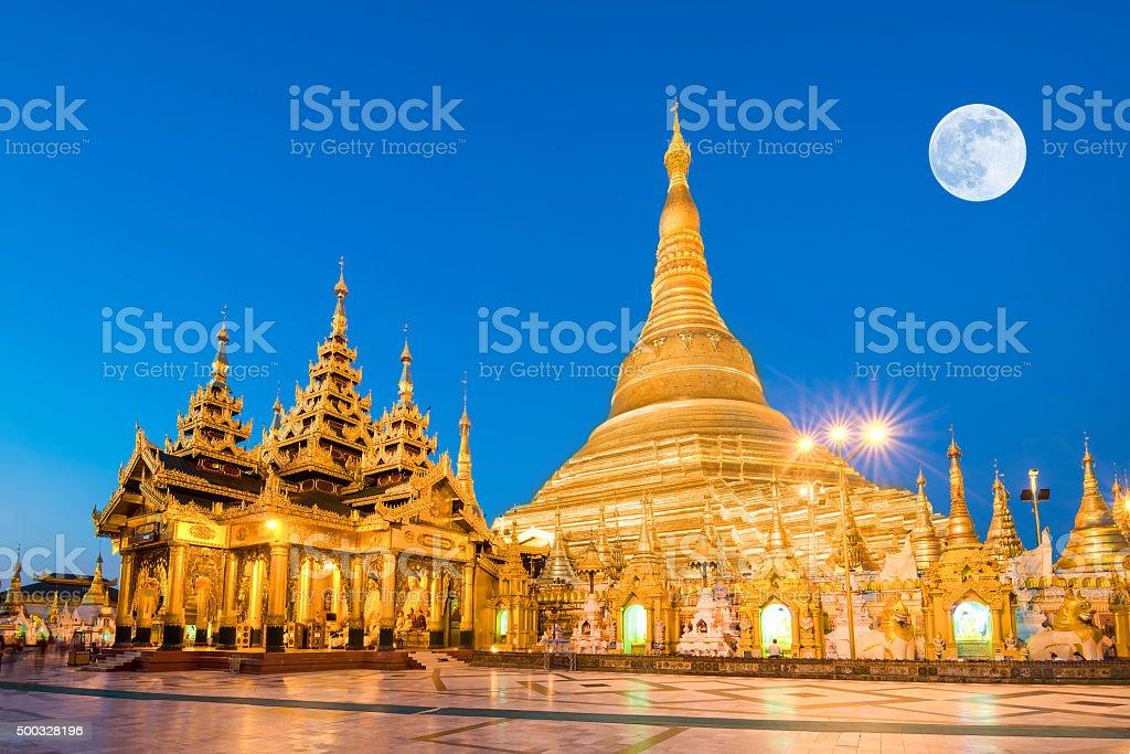 Yangon, Myanmar view of Shwedagon Pagoda with super moon stock photo