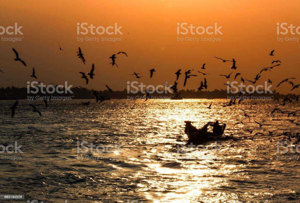 Yangon river sunset royalty-free 스톡 사진