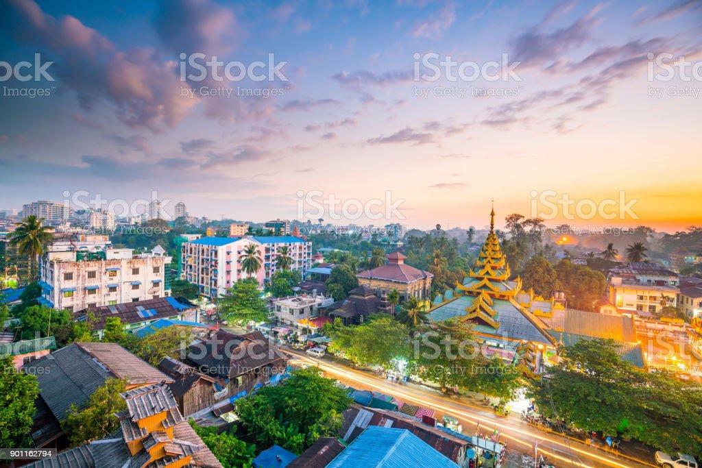 Yangon skyline with Shwedagon Pagoda  in Myanmar stock photo