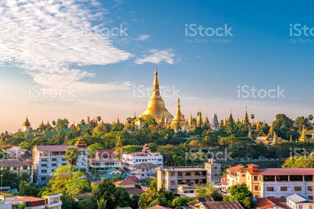 Yangon skyline with Shwedagon Pagoda stock photo