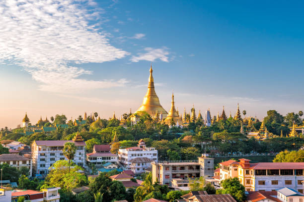Yangon skyline with Shwedagon Pagoda stock photo