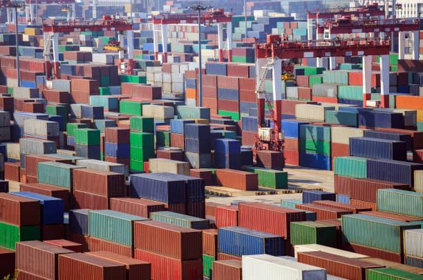 Yangshan Şanghay Limanı stok fotoğrafı