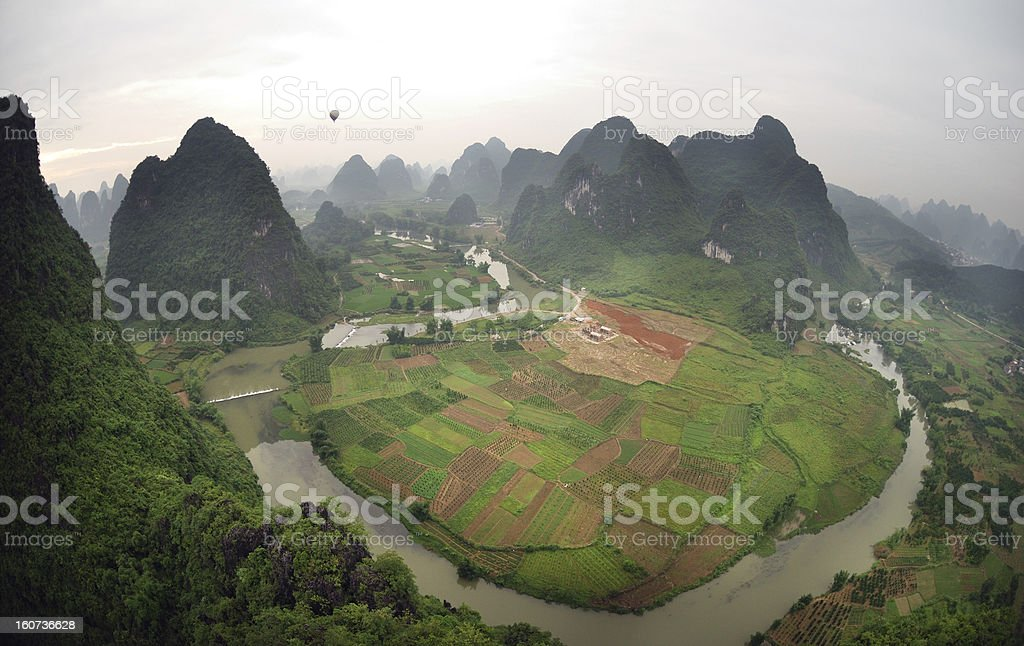Yangshou. Chinese fields, mountains and river, bird view stock photo