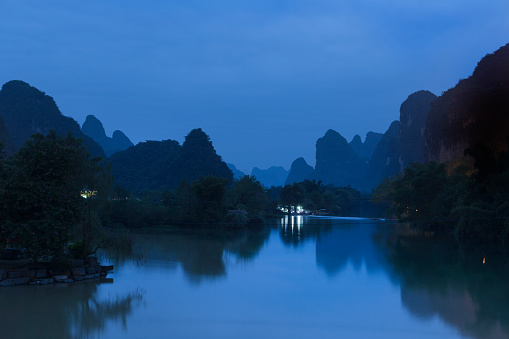 Karst formation landscapes in Yangshuo, China.