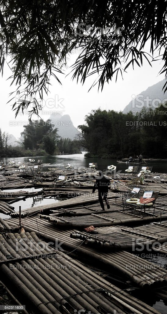 Yangshuo River rafts, Guilin stock photo