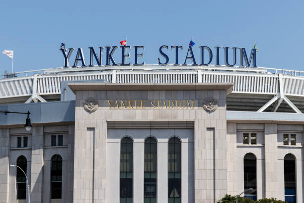 Yankee Stadium exterior and facade. The new Yankee Stadium was completed in 2009 II stock photo