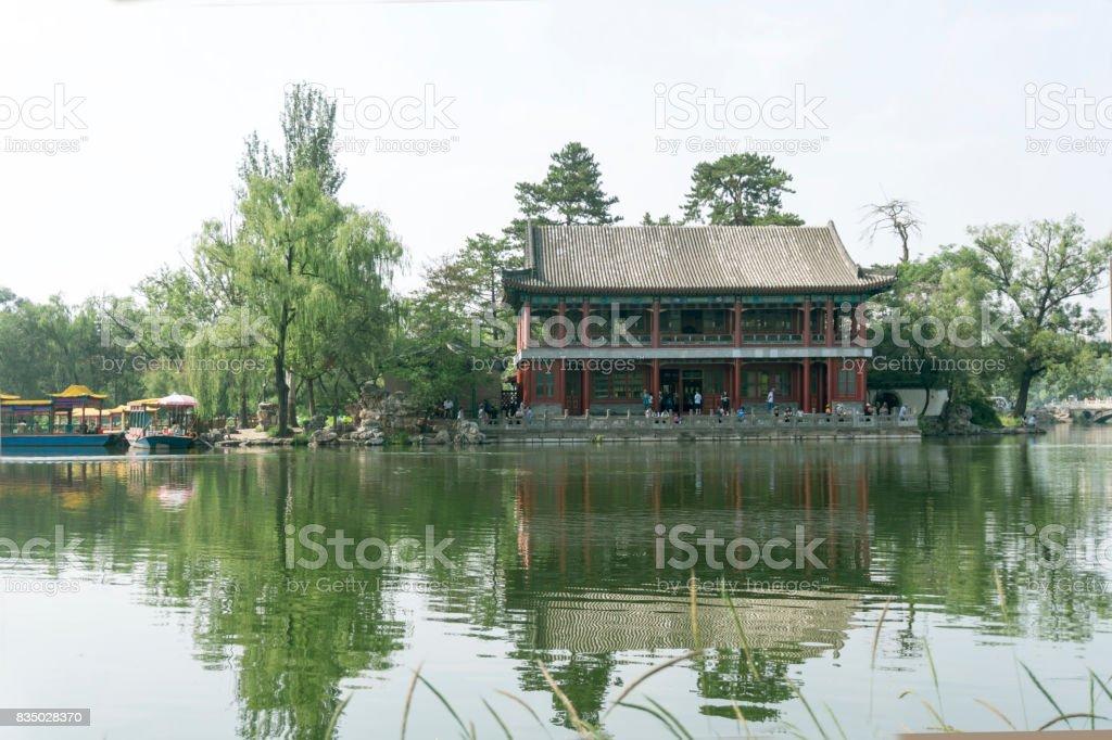 Yanyu tower in chengde summer resort park stock photo