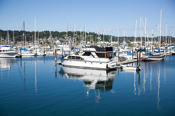 Yaquina Bay Boats stock photo