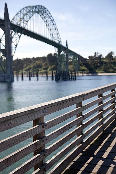 Yaquina Bay Bridge and Boardwalk stock photo