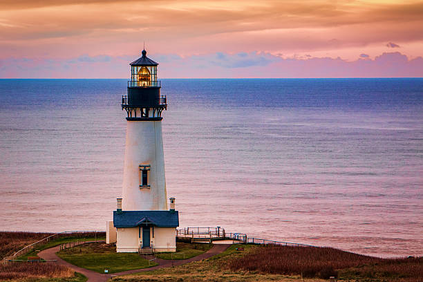 HDR Yaquina Head LIghthouse Sunset Newport Oregon Coast Scenic Point stock photo