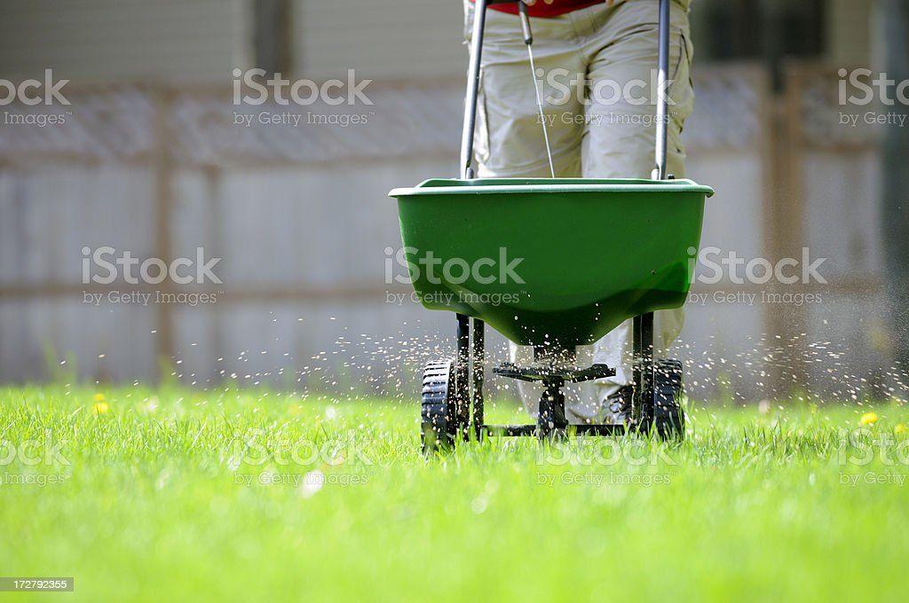 Yard fertilizing stock photo