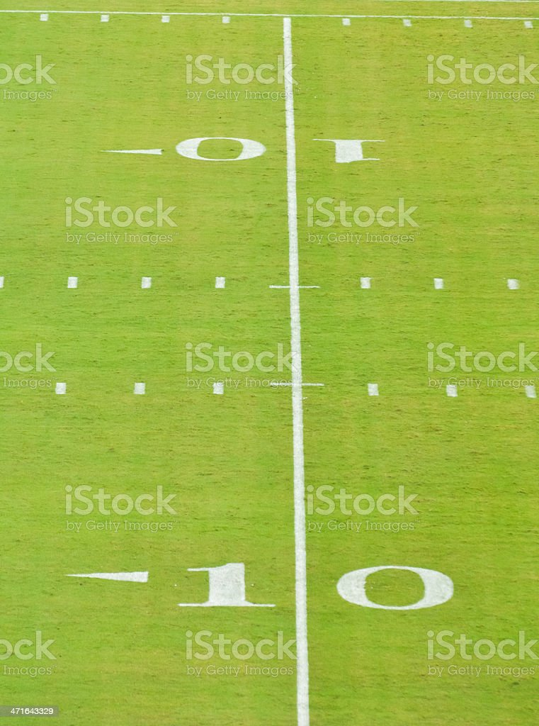 10 yard line on a football field royalty-free stock photo