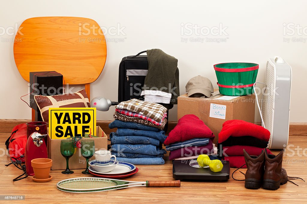Yard Sale: Household Items, Clothes, and Sports Equipment stock photo