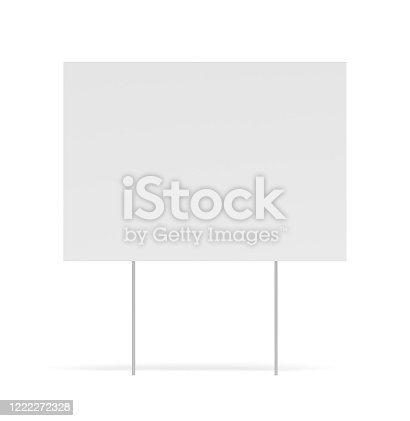 yard sign, white background, isolated, 3d rendering