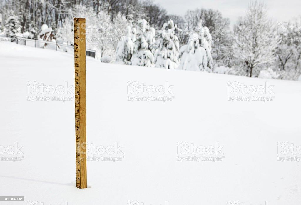 Yard Stick Measuring Snow stock photo