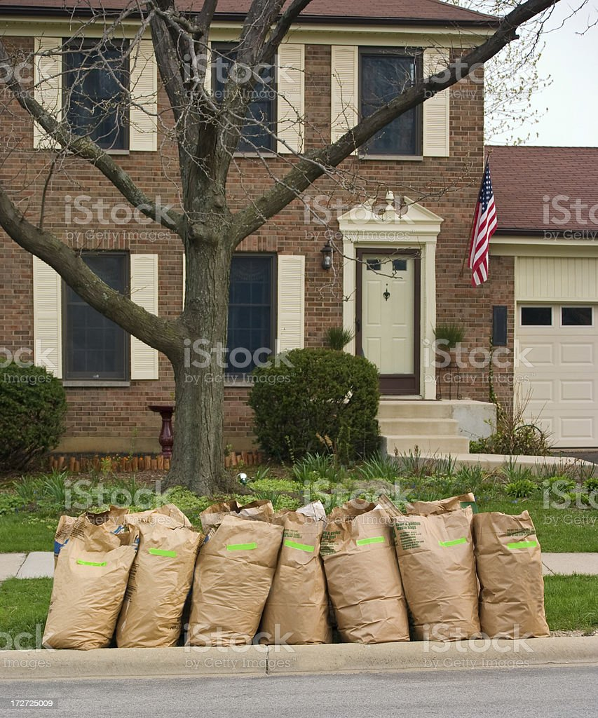 yard waste bags stock photo