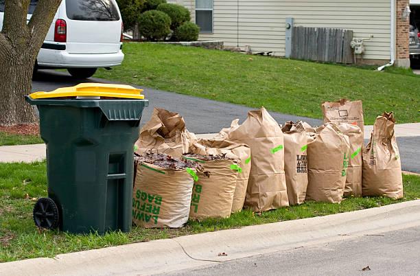 yard waste bags three stock photo