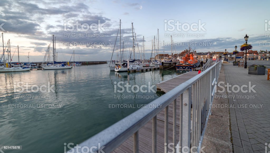 Yarmouth Quay and harbour at twilight stock photo