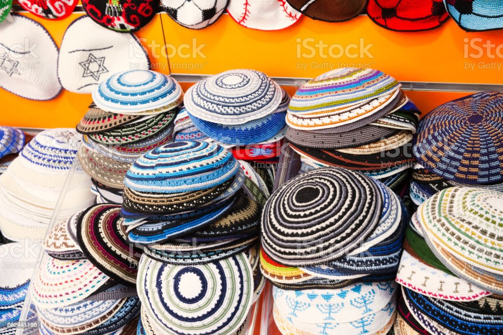 Yarmulka collection at the market in Jerusalem royalty-free stock photo