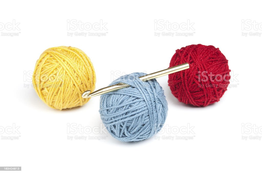 Yarn and Crochet Hook stock photo