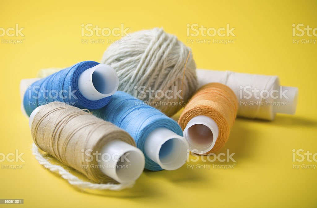 yarn and spools of thread royalty-free stock photo