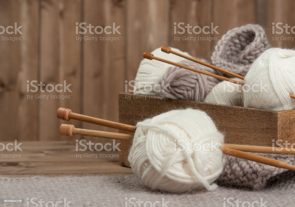 Yarn Balls. Wooden Knit Needles. Knitting Accessories. stock photo