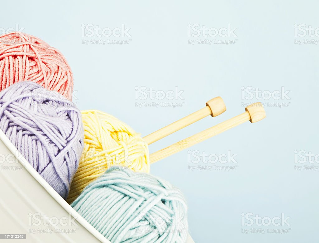Yarn Collection with Knitting Needles stock photo