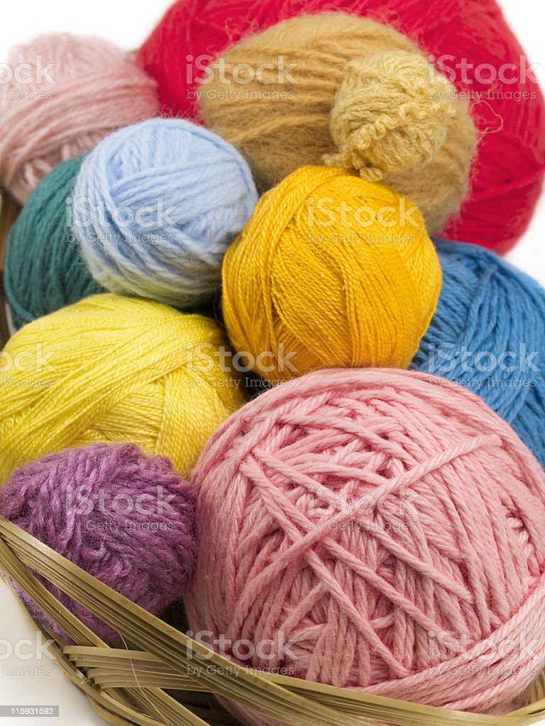 Yarn in a basket royalty-free stock photo