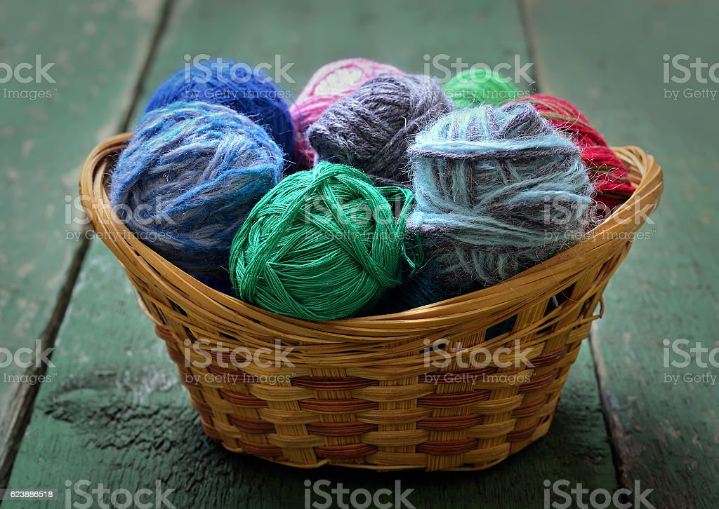 Yarn in wicker basket stock photo