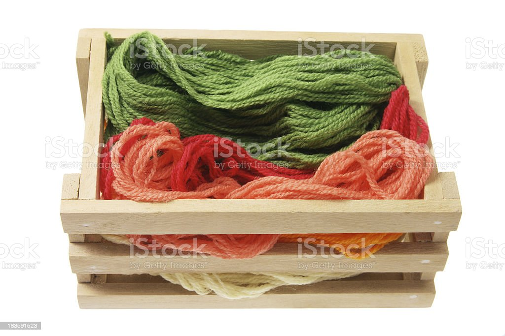 Yarn in Wooden Box royalty-free stock photo