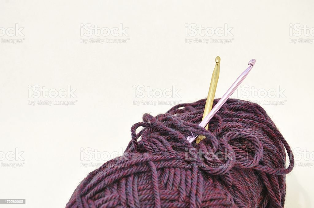 Yarn with Crochet hooks stock photo