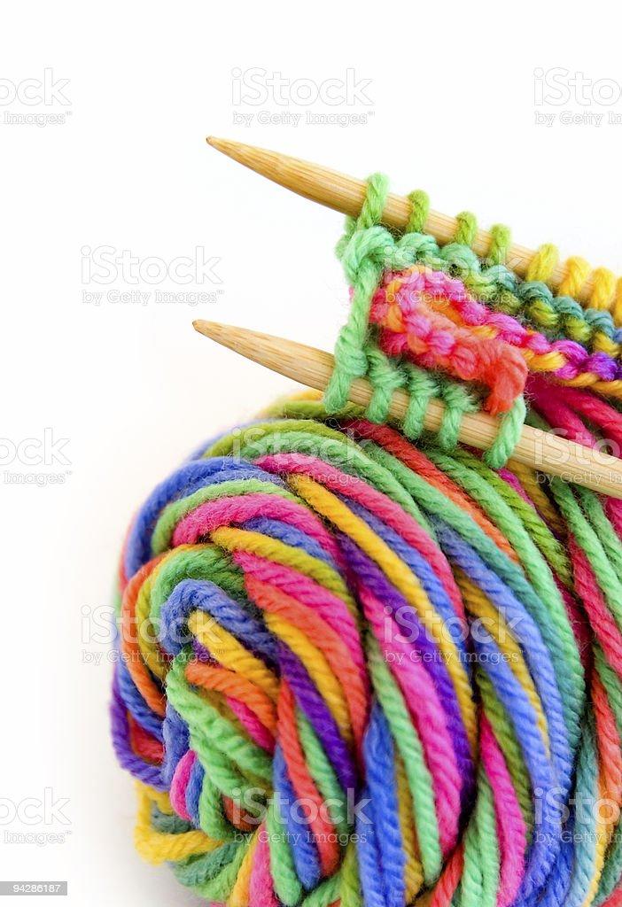 Yarn with knitting pattern royalty-free stock photo