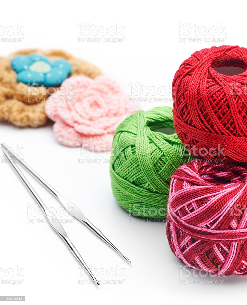 Yarns and crochet hooks stock photo