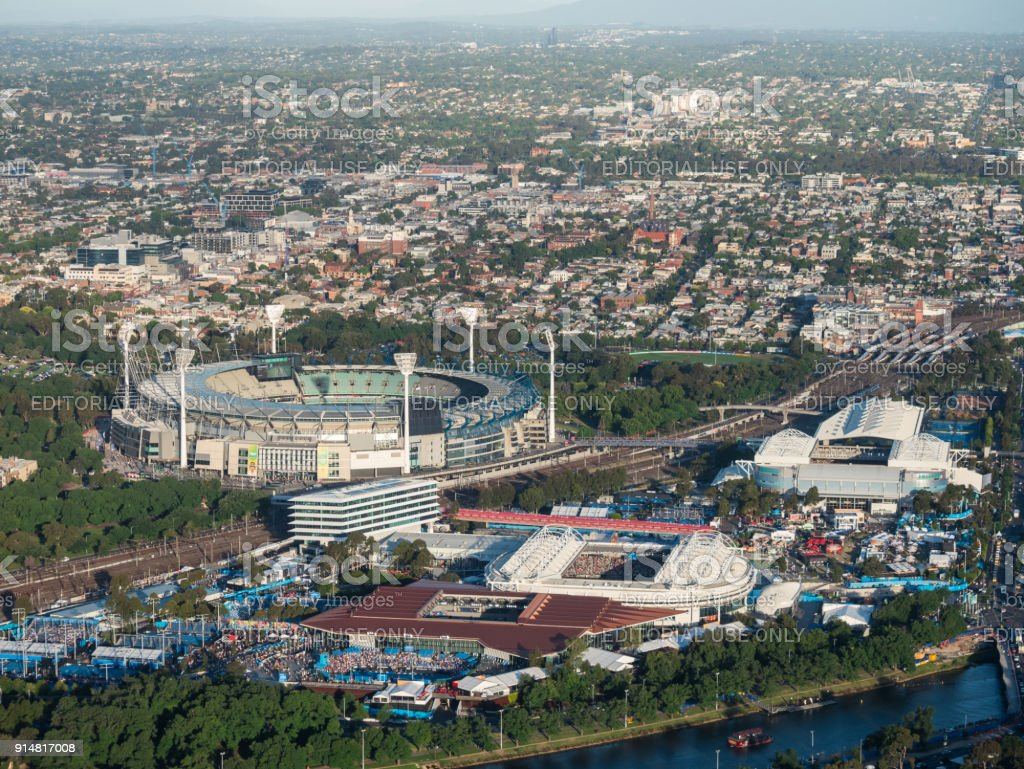 Yarra Park and the Melbourne Cricket Ground, part of the Melbourne sports precinct. stock photo