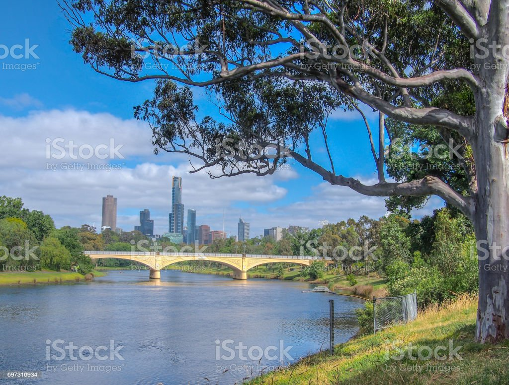 Yarra River and Melbourne City stock photo
