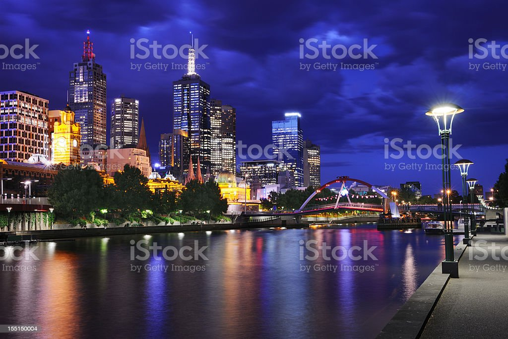 Yarra river and the Melbourne skyline royalty-free stock photo