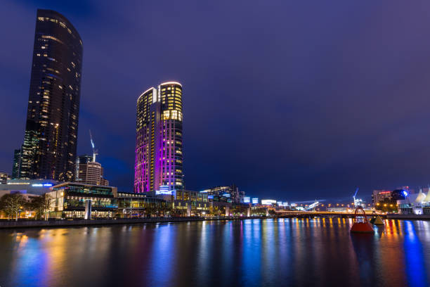 Yarra River by Night - Melbourne stock photo