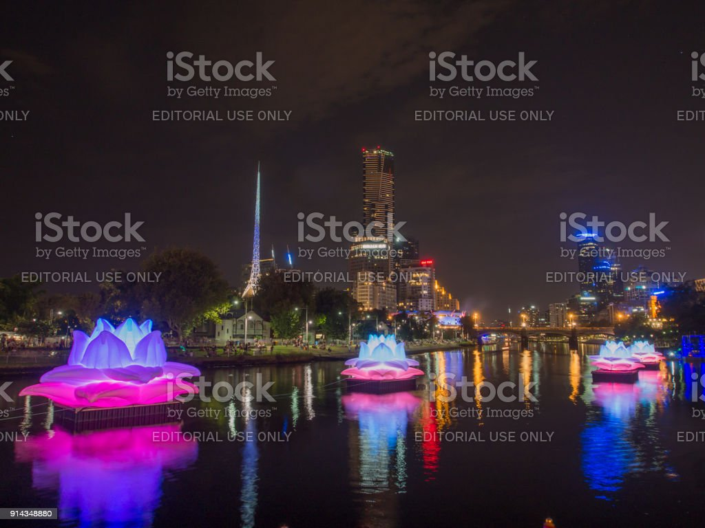 Yarra River with colorful illuminated decorations stock photo
