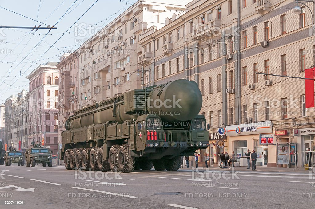 RS-24 Yars (SS-27) intercontinental ballistic missile on parade stock photo