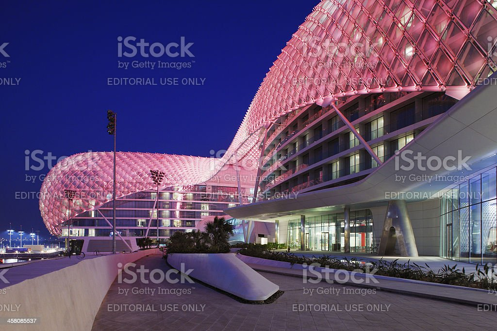Yas Hotel the iconic symbol of Abu Dhabi's Grand Prix royalty-free stock photo
